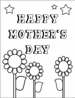 Happy Mother's Day Flowers Coloring Page