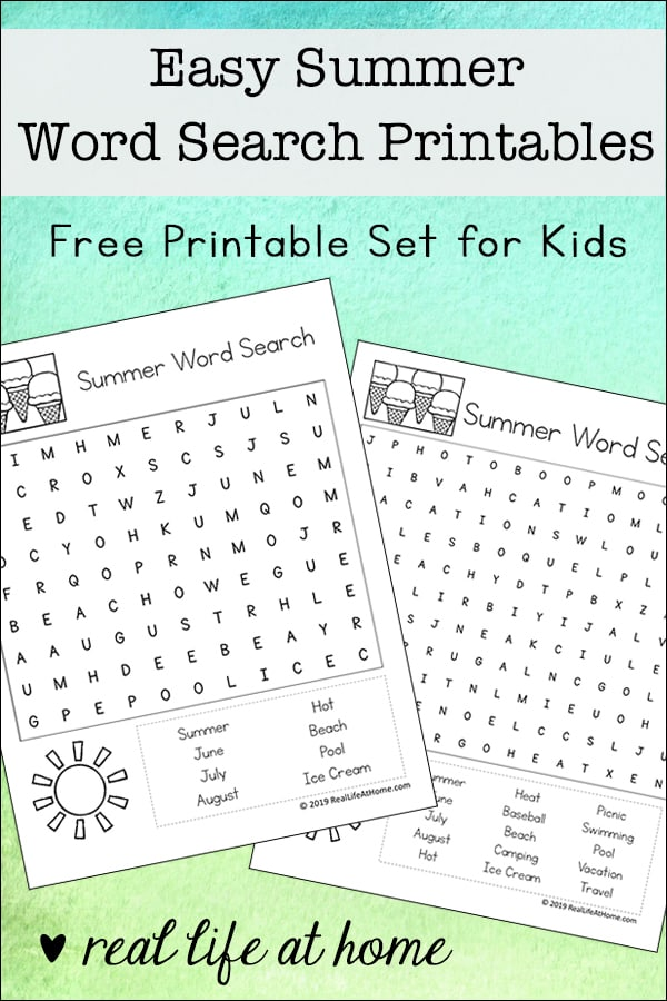 picture relating to Summer Word Search Printable identified as Straightforward Summer time Term Glimpse Cost-free Printables for Children