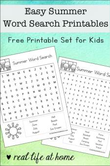 Free Easy Summer Word Search Printables for Kids - There are two versions of this printable with different levels of difficulty including an eight search terms version and a fifteen search terms version. | Real Life at Home