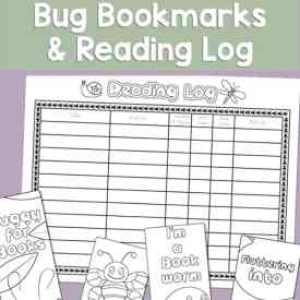 Free printable insect-themed reading log and a set of four bookmarks to color (three bug bookmarks and one worm bookmark) for kids.