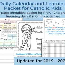 Daily Learning Notebook and Calendar Printables for Catholic Kids for the 2019 - 2020 school year (includes undated pages as well) #CatholicPrintables