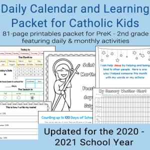 Daily Calendar and Learning Packet for Catholic Kids