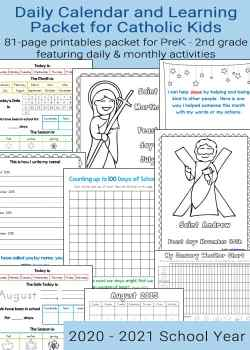 Graphic showing Daily Calendar and Learning Packet for Catholic Kids