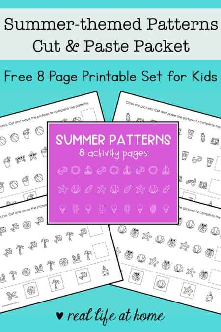 Working on recognizing and making math patterns with pictures? This free summer patterns worksheets packet is a wonderful early math activity for children.