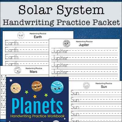 Your child or students can work on solar system handwriting practice with this free set with 12 pages about the solar system, planets, and space.