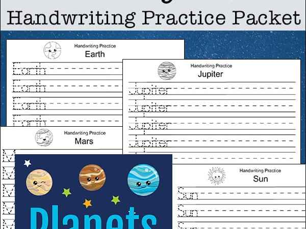 Solar System Handwriting Free Printables Packet for Kids