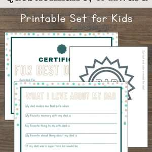 A printable set for Father's Day featuring a Father's Day certificate, Father's Day interview, and a #1 Dad Badge to color for dad.