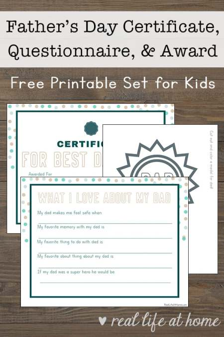 Free Printable Father S Day Questionnaire Certificate And Badge