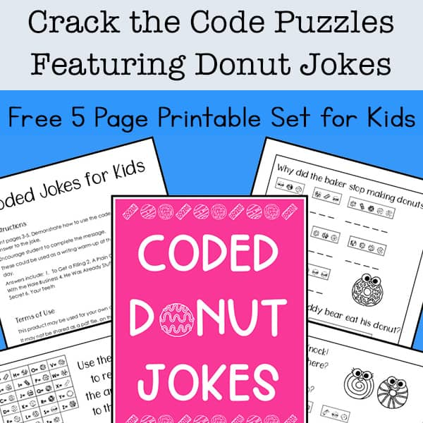 photograph about Printable Jokes for Kids called Break the Code Puzzles No cost Printable Offering Donut Jokes