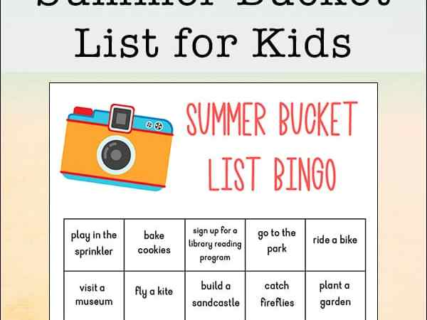 Summer Bucket List for Kids Free Printable Bingo Sheet