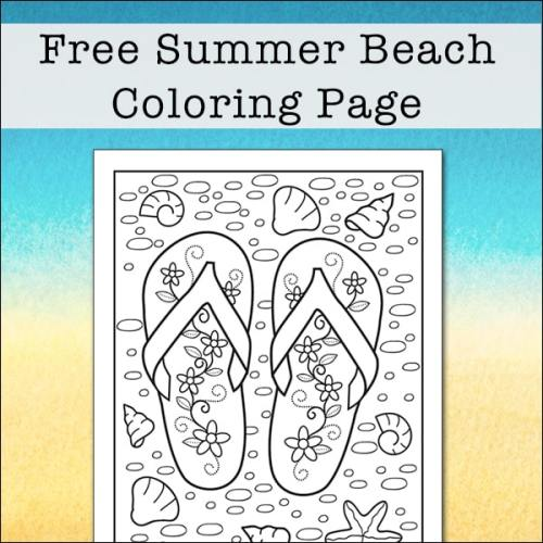 Summer Beach Coloring Page featuring Flip Flops on the Beach