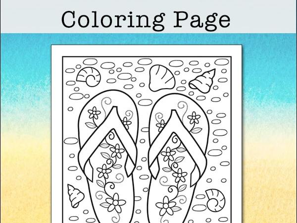 Summer Beach Flip Flop Coloring Page – Free Printable