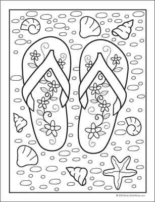 Free Summer Beach Coloring Sheet - Flip Flop Coloring Page (Free from Real Life at Home)