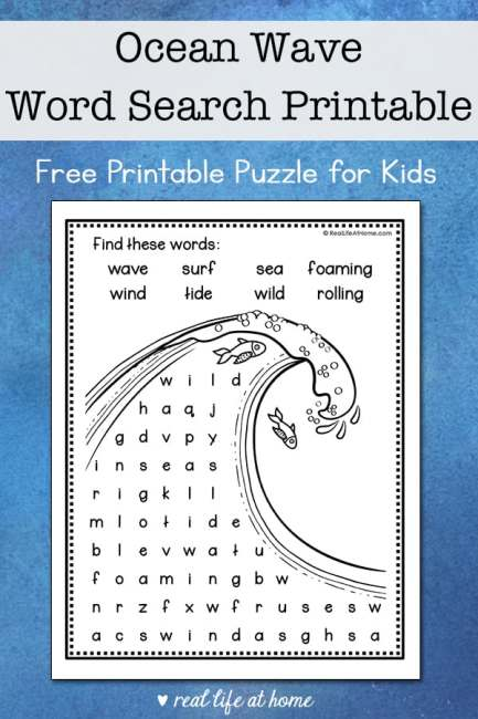 This easy ocean wave word search printable is perfect for elementary-aged kids to solve and color. It features eight words about the oceans and waves.