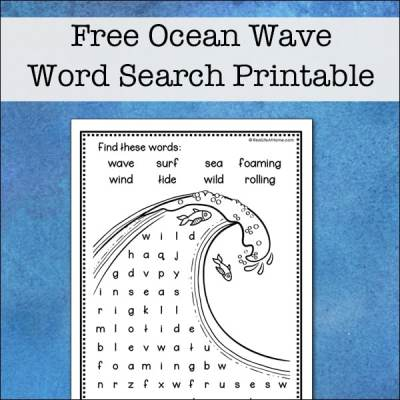 This easy ocean wave word search printable is perfect for elementary-aged kids to solve and color. It features eight words about oceans and waves from RealLifeAtHome.com