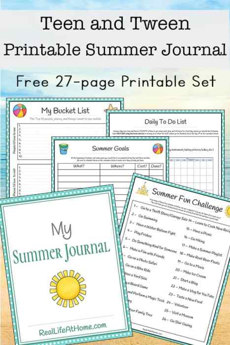 Tween and Teen Summer Journal 27 page Free Printable Packet