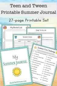 Tween and Teen Summer Journal 27 page Printable Packet