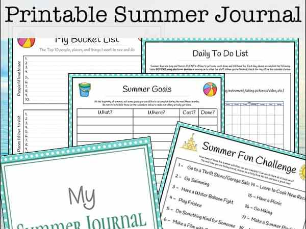 Summer Journal for Teens and Tweens (Free 27-page Printable Packet)