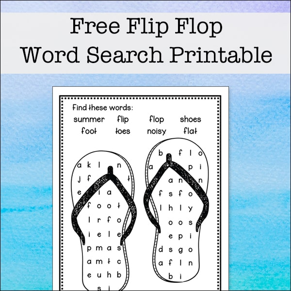 photo regarding Flip Flop Printable identify Turn Flop Phrase Appear - Cost-free and Basic Phrase Discover Puzzle for Youngsters