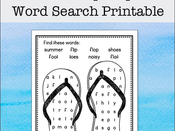Flip Flop Word Search – Free and Easy Word Find Puzzle for Kids