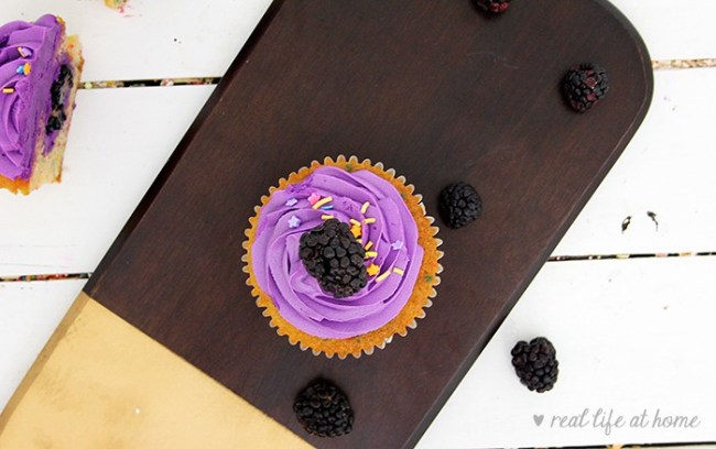 Blackberry-filled Cupcakes with Blackberry Buttercream Frosting Recipe