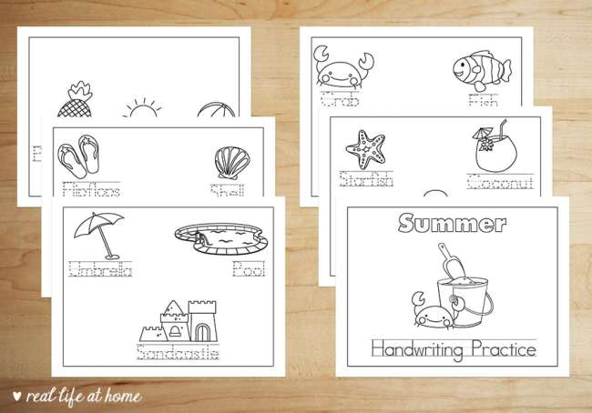 Pages from the free printable packet from Real Life at Home