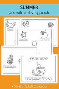 Summer preschool and kindergarten activity pack