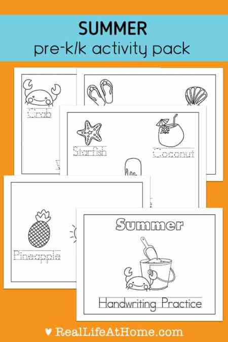 Summer Handwriting and Coloring Printables for Preschool ...