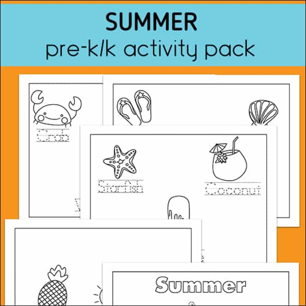 picture relating to Kindergarten Packet Printable identify Summertime Handwriting and Coloring Printables for Preschool