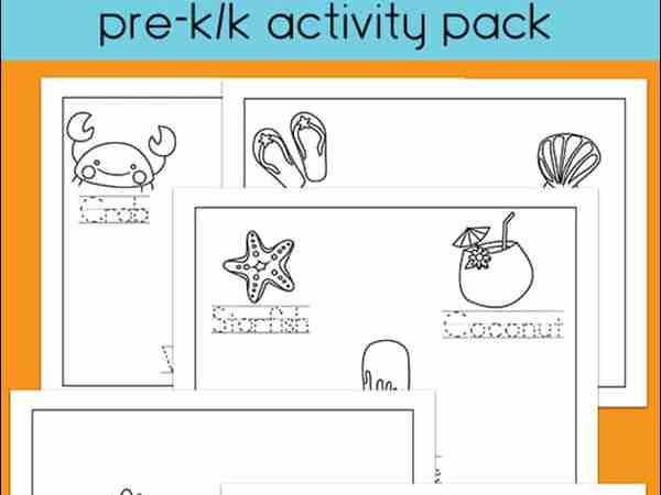 Summer Handwriting and Coloring Printables for Preschool – Kindergarten