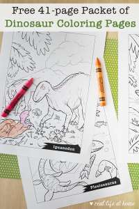 Free 41-page Packet of Dinosaur Coloring Pages for Kids