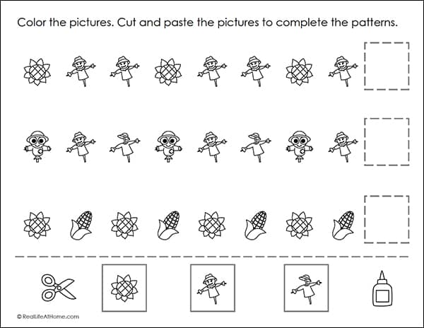Cut And Paste Fall Patterns Worksheets Packet (Free Autumn Printables)