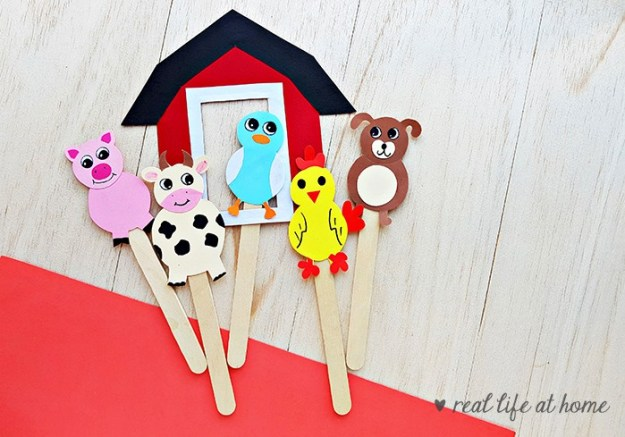 farm animal stick puppets craft with printable barn