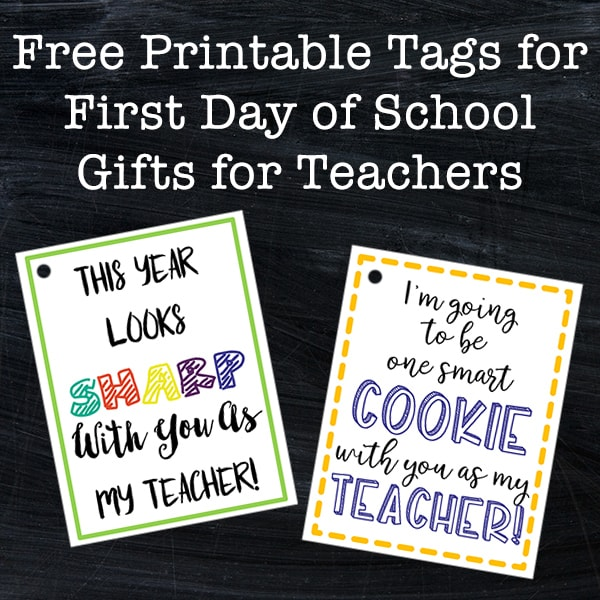 graphic relating to Free Printable Teacher Gift Tags named Cost-free Tags - Very first Working day of Higher education Items for Instructors for