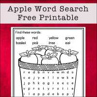 Apple Word Search Printable - Easy Word Find Puzzle for Kids