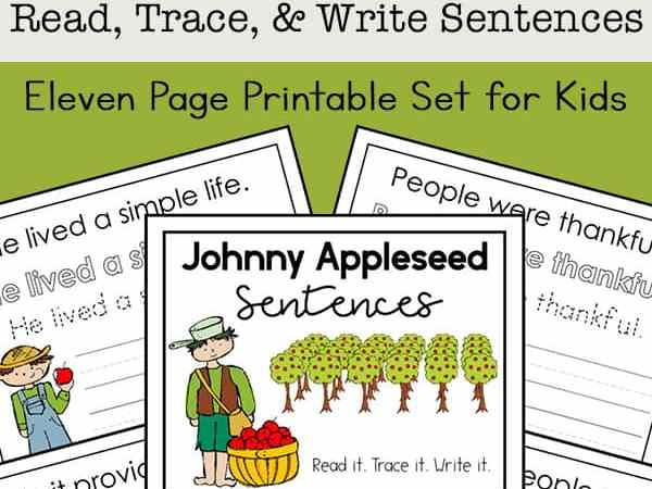 Johnny Appleseed for Kids: Johnny Appleseed Copywork Printables