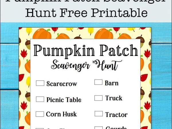 Pumpkin Patch Scavenger Hunt Free Printable Activity