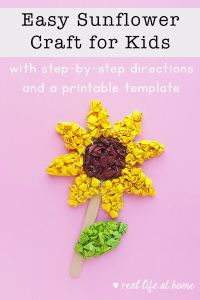 Easy Sunflower Craft for Kids with Directions and Printable Template
