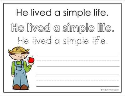 Worksheets with Facts about Johnny Appleseed for Kids