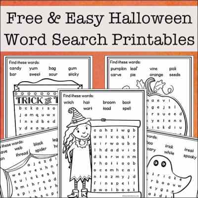 Free and Easy Halloween Word Search Printables for Kids