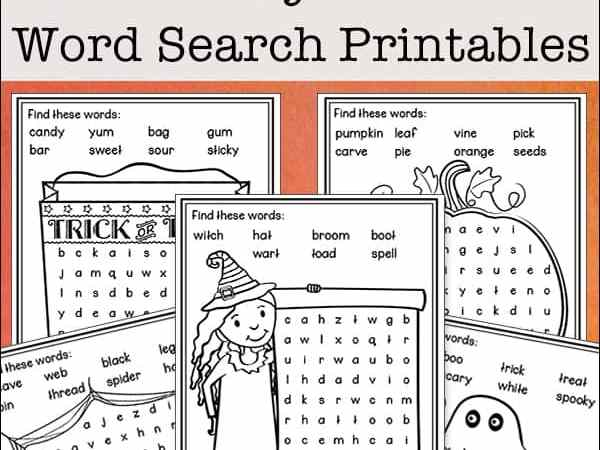 Easy Halloween Word Search Free Printables for Kids