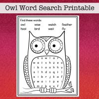 Free Owl Word Search for Kids from Real Life at Home