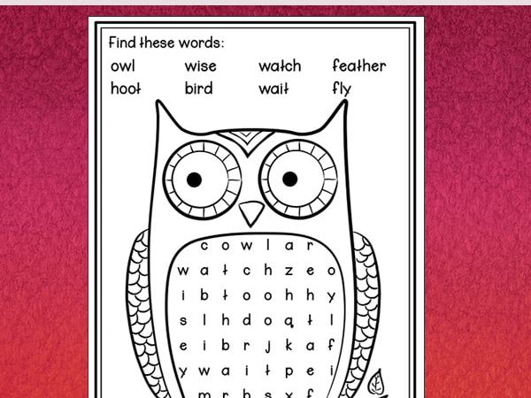 Owl Word Search Printable – Easy Word Find for Kids