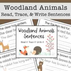 This woodland animals copywork read, trace, and write packet is a great way to work on reading and writing for kids. The packet is 7 pages and perfect for preschool - 2nd grade.