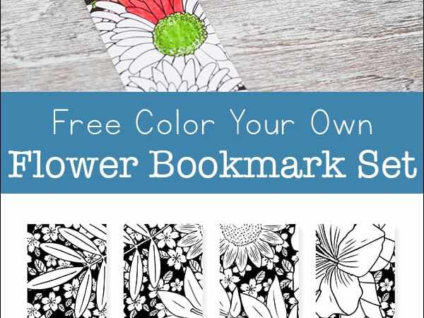 Free Printable Color Your Own Flower Bookmarks Set