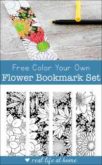 Color Your Own Flower Bookmarks