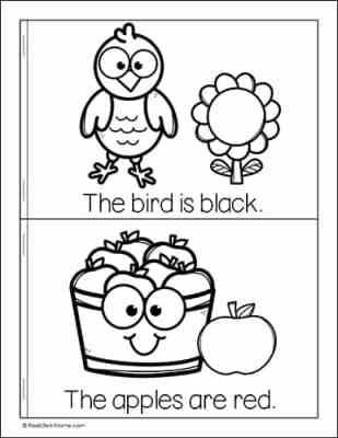 Sample page from the free My Fall Colors Mini Book for Kids