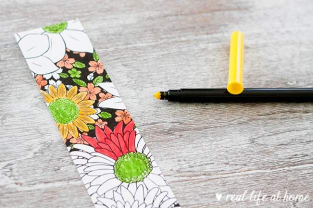 A color your own floral bookmark from a four set of free color your own flower bookmarks