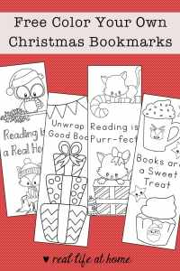 Free Printable Set of Color Your Own Christmas Bookmarks from Real Life at Home