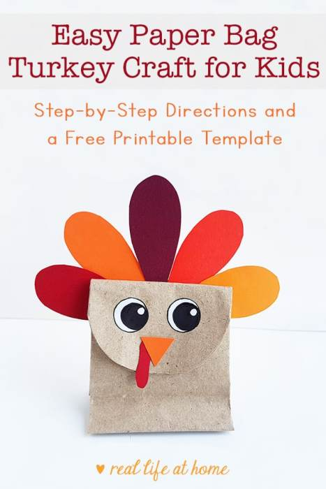 Easy Paper Bag Turkey Craft for Kids (with a free printable template)